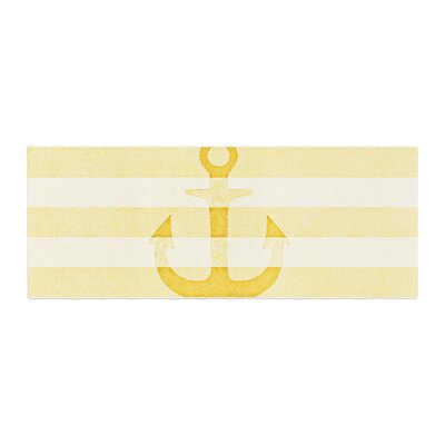 Monika Strigel Stone Vintage Anchor Bed Runner Color: Yellow/Mustard White