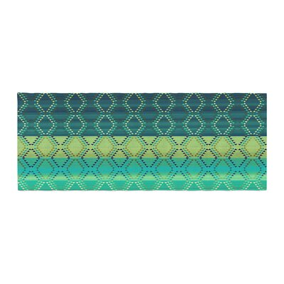 Nina May Denin Diamond Bed Runner Color: Gradient Green/Turquoise Emerald