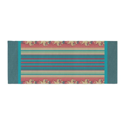Nina May Mahalo Denim Stripe Floral Bed Runner