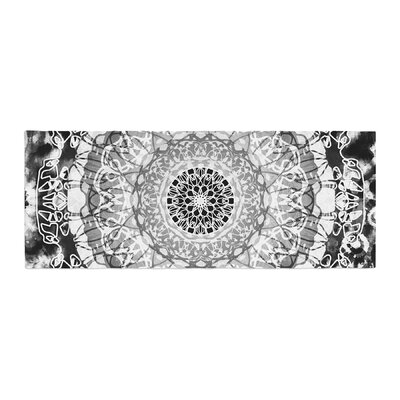 Nina May Tie-Dye Mandala Jain Illustration Bed Runner Color: Black