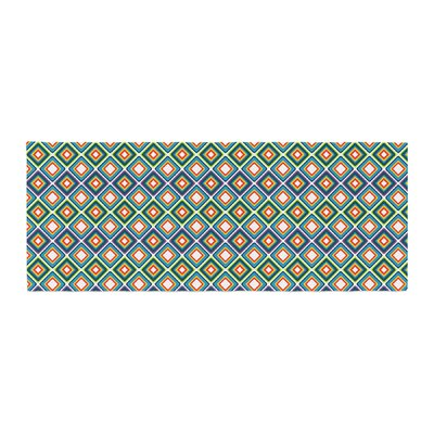 Nandita Singh Bright Squares Pattern Bed Runner Color: Blue/Green