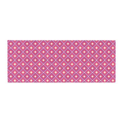 Nandita Singh Bright Squares Pattern Bed Runner Color: Pink