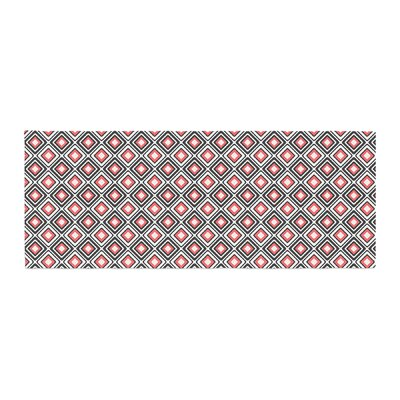 Nandita Singh Bright Squares Pattern Bed Runner Color: Coral/Black