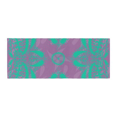 Nandita Singh Motifs Floral Bed Runner Color: Green/Purple