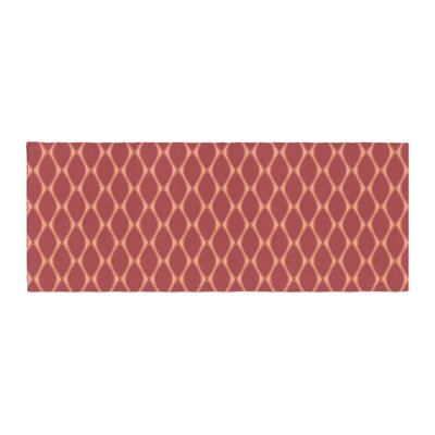 Nandita Singh Marsala and Mustard Pattern Bed Runner Color: Peach