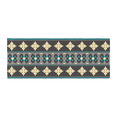 Nandita Singh Borders Bed Runner Color: Blue/Teal Yellow