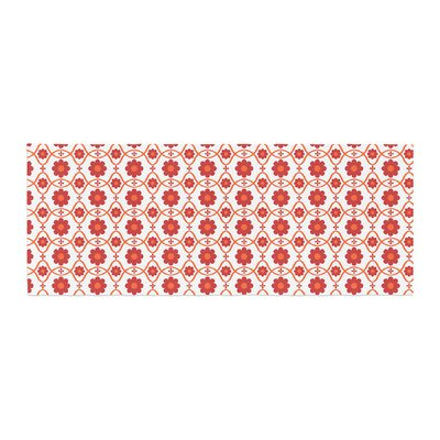 Nandita Singh Floral Pattern Bed Runner Color: Red