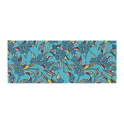 Michelle Drew Paper Leaf Bed Runner Color: Blue