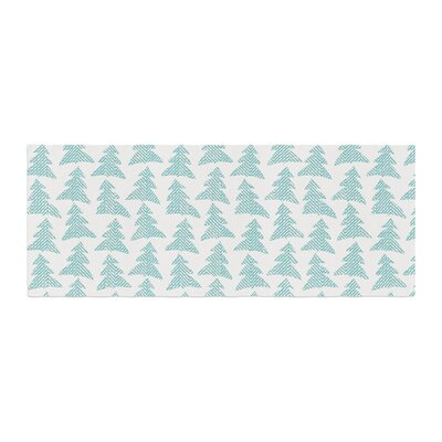 Michelle Drew Herringbone Forest Bed Runner Color: Teal/Blue