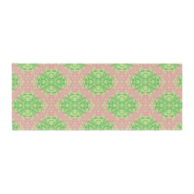 Mydeas Diamond Illusion Damask Pattern Bed Runner Color: Pink/Green