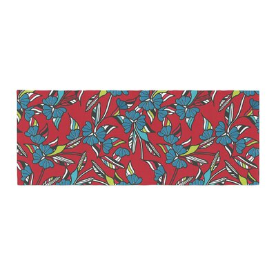 Michelle Drew Paper Leaf Bed Runner Color: Red