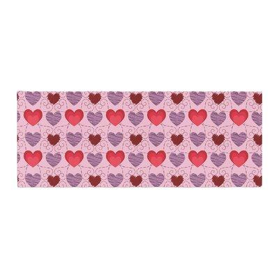 Mydeas Fancy Scribbled Hearts Pattern Vector Bed Runner