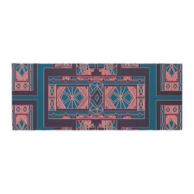 Nika Martinez Art Deco Bed Runner Color: Blue/Coral