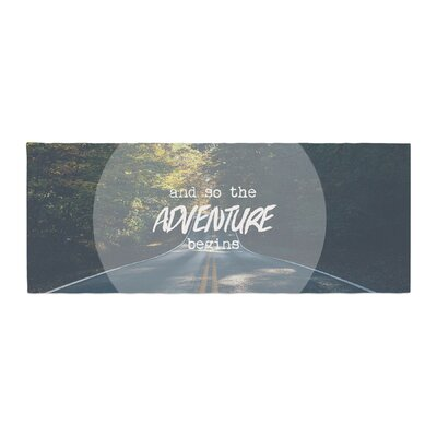Ann Barnes The Adventure Begins Typography Nature Bed Runner