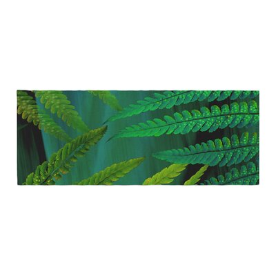 Alison Coxon Forest Fern Plant Bed Runner Color: Green
