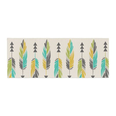 Amanda Lane Painted Feathers Tribal Bed Runner Color: Cream