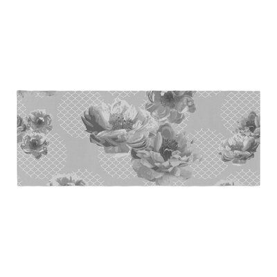 Pellerina Design Lace Peony Floral Bed Runner Color: Gray