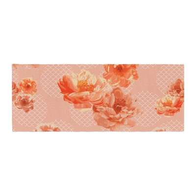Pellerina Design Lace Peony Floral Bed Runner Color: Orange