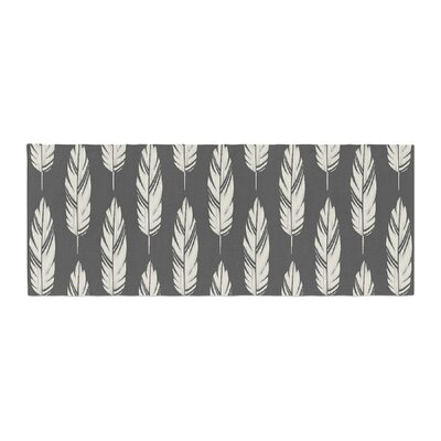 Amanda Lane Feathers Pattern Bed Runner Color: Black