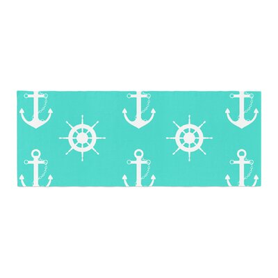 Afe Images Anchor and Helm Wheel Illustration Bed Runner
