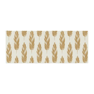 Amanda Lane Feathers Pattern Bed Runner Color: Yellow