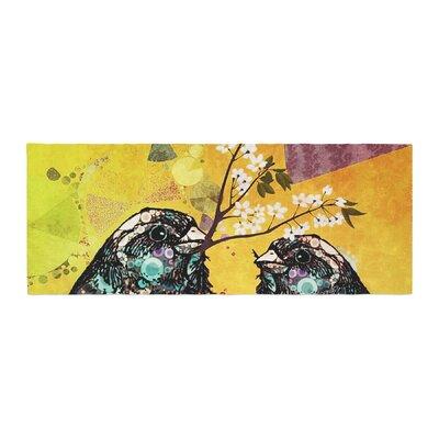 AlyZen Moonshadow Birds in Love Bed Runner Color: Yellow/Orange