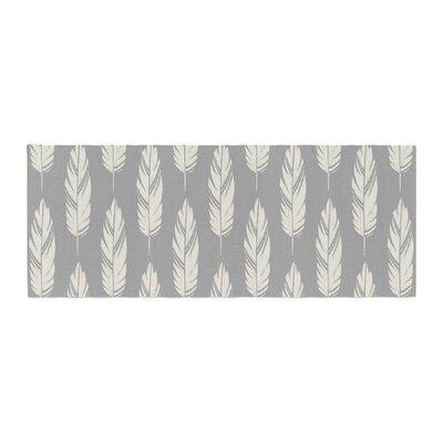 Amanda Lane Feathers Pattern Bed Runner Color: Gray