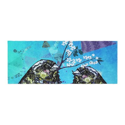 AlyZen Moonshadow Birds in Love Bed Runner Color: Blue/Navy/Purple