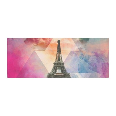 Alyzen Moonshadow Eiffel Tower Travel France Bed Runner Color: Pink