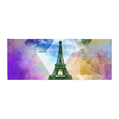 Alyzen Moonshadow Eiffel Tower Travel France Bed Runner Color: Purple
