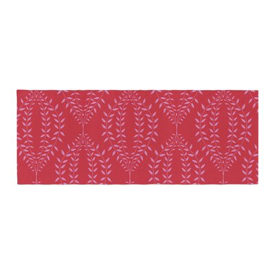 Anneline Sophia Laurel Leaf Floral Bed Runner Color: Red/Maroon