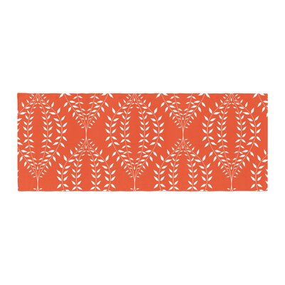 Anneline Sophia Laurel Leaf Floral Bed Runner Color: Orange/Red