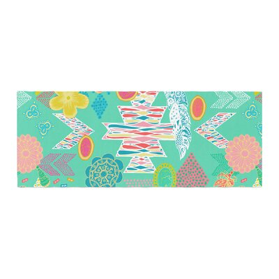 Anneline Sophia Aztec Boho Bed Runner Color: Teal/Emerald