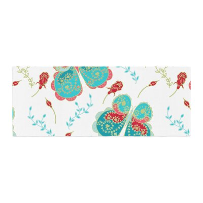 Anneline Sophia Leafy Butterflies Butterfly Bed Runner Color: Red/Aqua