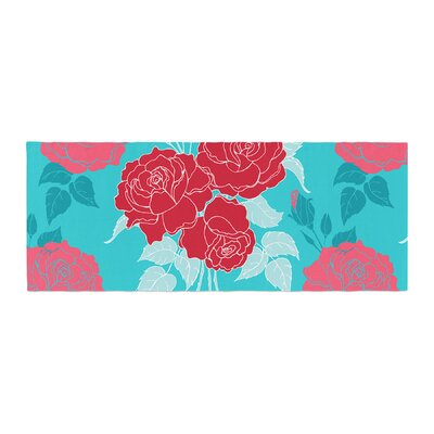 Anneline Sophia Summer Rose Bed Runner Color: Red/Blue/Aqua