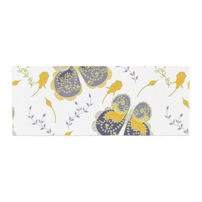 Anneline Sophia Leafy Butterflies Butterfly Bed Runner Color: Yellow/Purple