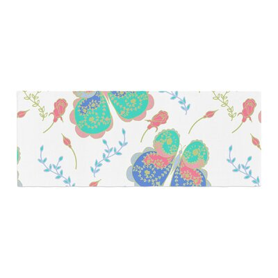 Anneline Sophia Leafy Butterflies Butterfly Bed Runner Color: Pink/Teal