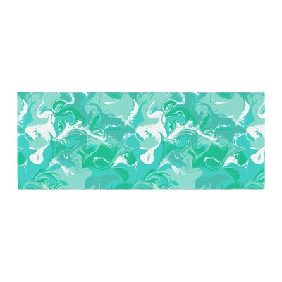 Anneline Sophia Marbleized Bed Runner Color: Seafoam/Teal