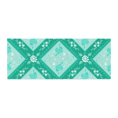 Anneline Sophia Diamonds Bed Runner Color: Mint/Green