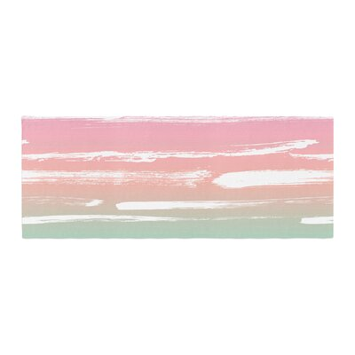 Anneline Sophia Painted Stripes Bed Runner Color: Pink/Green