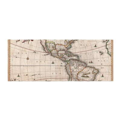 Bruce Stanfield Vintage Map of the Americas Bed Runner