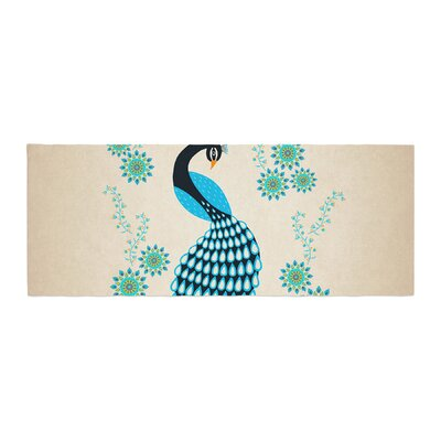 Cristina Bianco Design Peacock Illustration Bed Runner