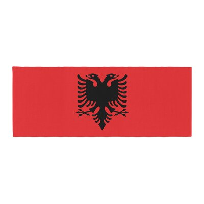 Bruce Stanfield Flag of Albania Digital Bed Runner