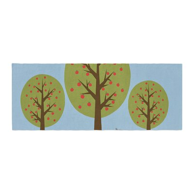 Cristina Bianco Design Cute Raccoons and Apple Trees Illustration Bed Runner
