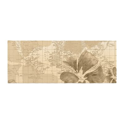 Catherine Holcombe Flower Power Map Bed Runner Color: Tan