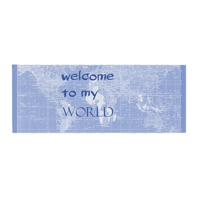 Catherine Holcombe Welcome to My World Quote Bed Runner Color: Indigo