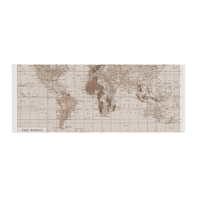 Catherine Holcombe Emerald World Vintage Map Bed Runner