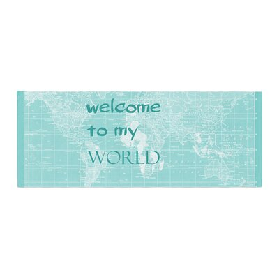 Catherine Holcombe Welcome to My World Quote Bed Runner Color: Mint