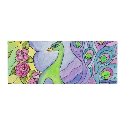 Catherine Holcombe Stained Glass Watercolor Peacock Bed Runner