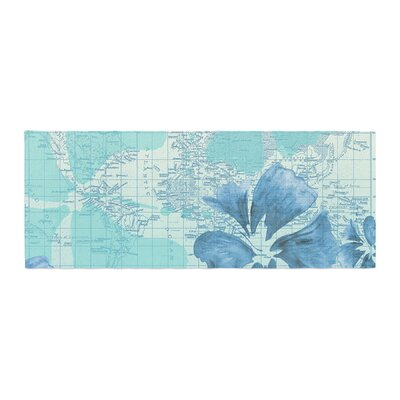 Catherine Holcombe Flower Power Map Bed Runner Color: Blue